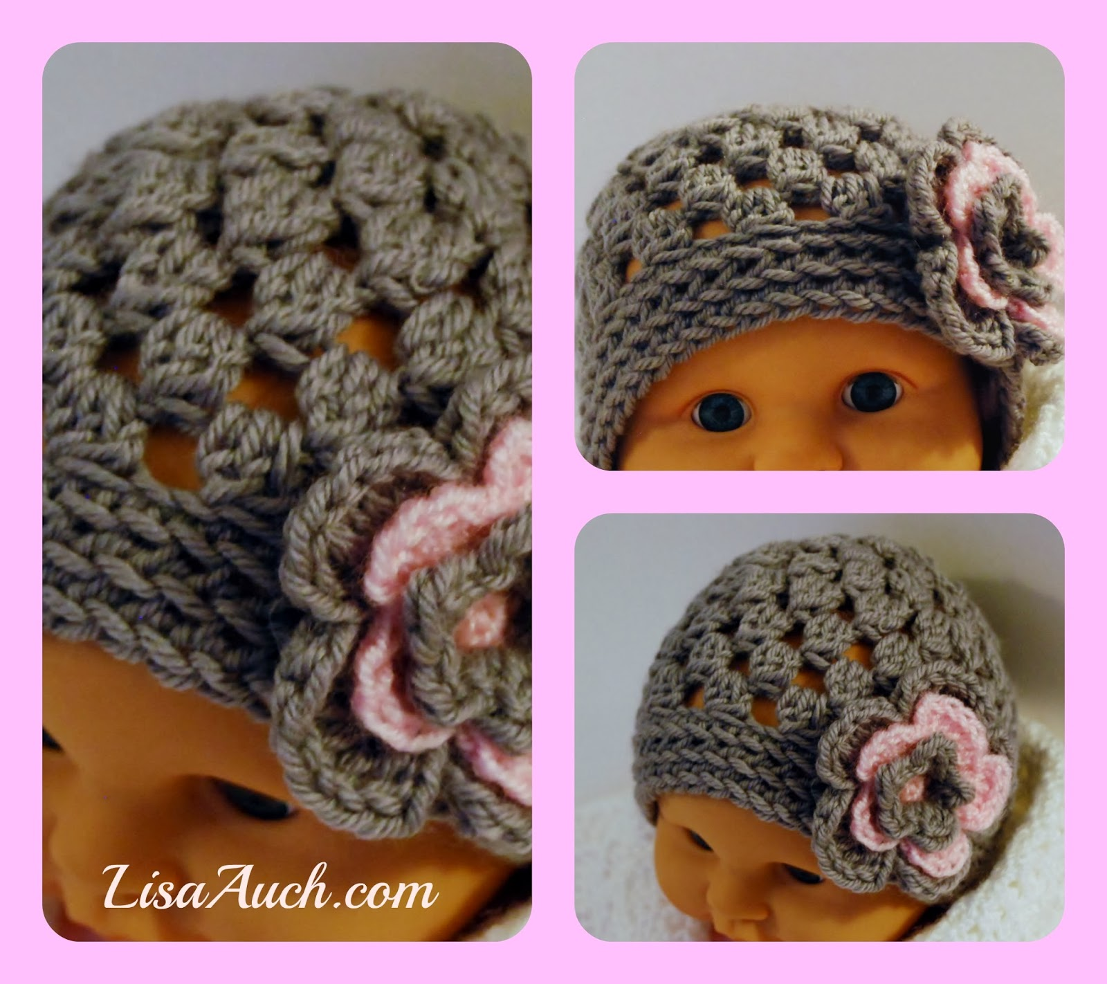 Free Crochet Flower Patterns For Baby Hats : Free Crochet Patterns and Designs by LisaAuch: FREE ...