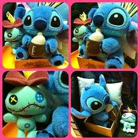 2009 JAPAN DISNEY STORE BOX STYLE BEDTIME STITCH+SCRUMP SET