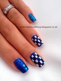 checkerboard nails blue sparkle diamantes