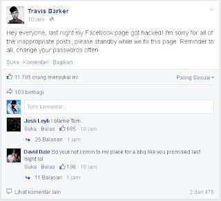 Facebook Page Travis Barker Di Hack