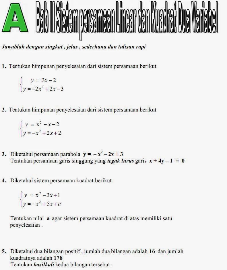 Matematika Di Sma Soal Ulangan Bab Ii Sistem Persamaan Linear Dan Kuadrat