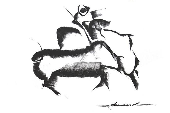 Le picador - Fusain