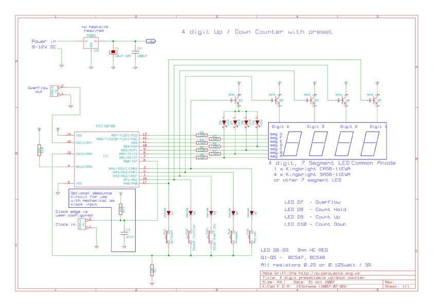 pic 16f88 based 4 digit up down counter circuit with explanation rh alectronicscircuits blogspot com