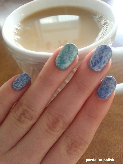 Saran Wrap Marble Nails