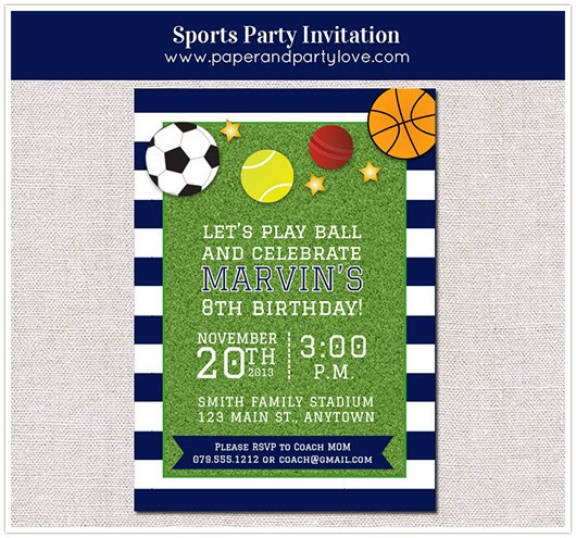 Sports party printable invitation soccer football basketball