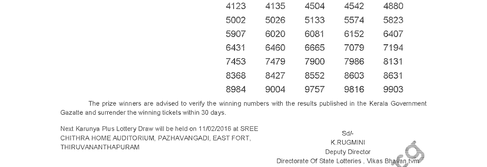 Karunya Plus Lottery KN 95 Result 04-02-2016