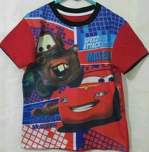 Baju Anak Karakter Cars Turkis Merah Size 1 - 6 Tahun