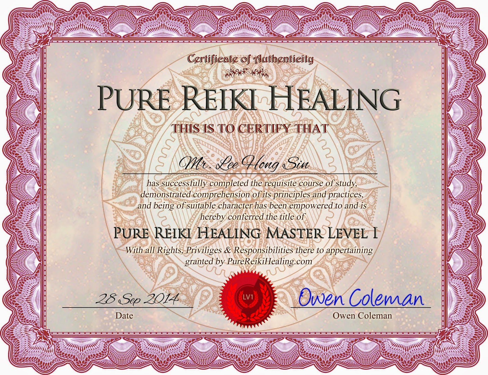 reiki level 1 certificate template - clear and perfect health