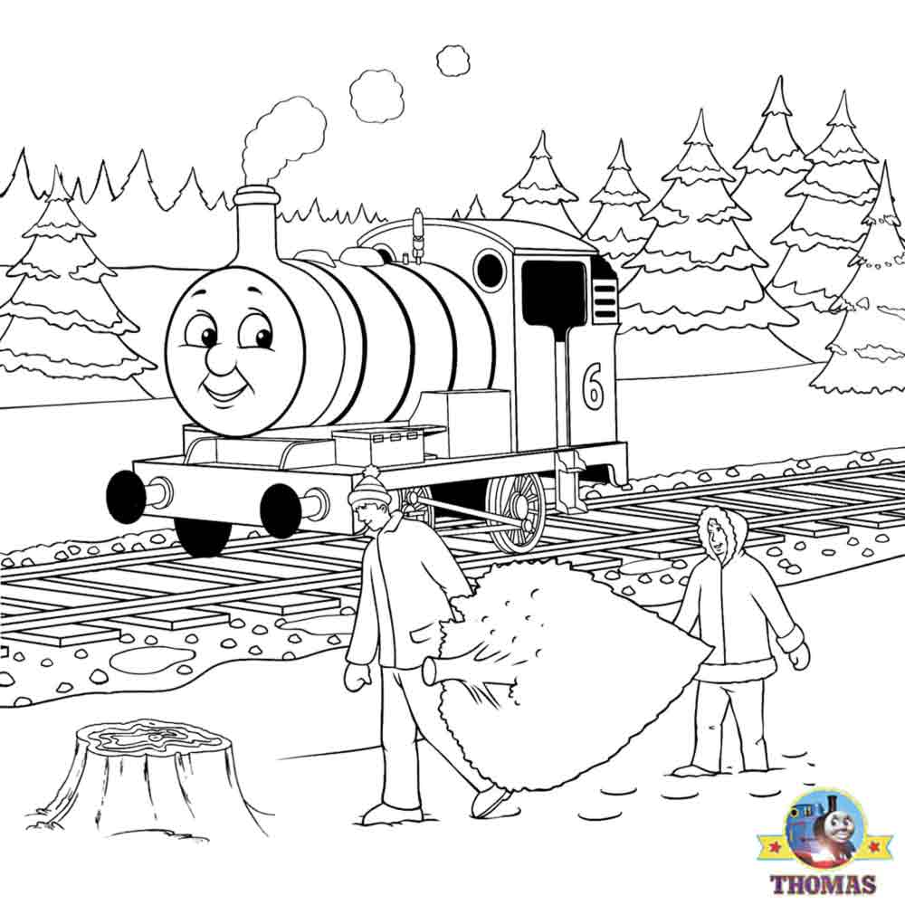 Thomas Christmas Coloring Sheets For Children Printable Pictures