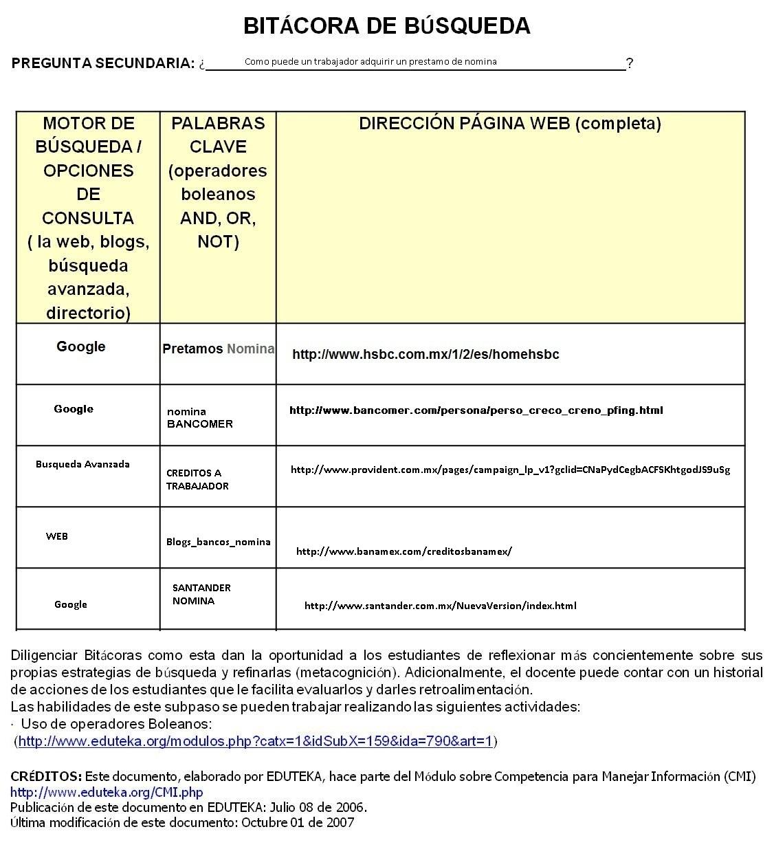 Proyecto Bitacoras De Busqueda Credito Nomina Bancomer