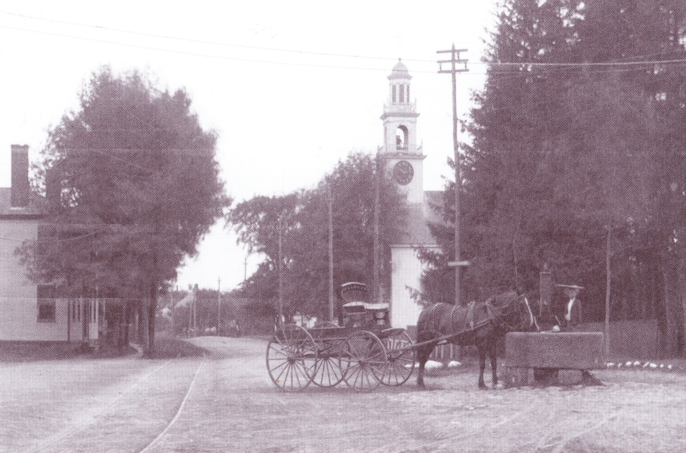 Horse, Carriage, Salisbury, Massachusetts, east parish, church, water trough