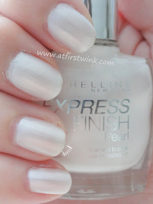 Maybelline Express Finish Pearl nail polish - White Dream on nails