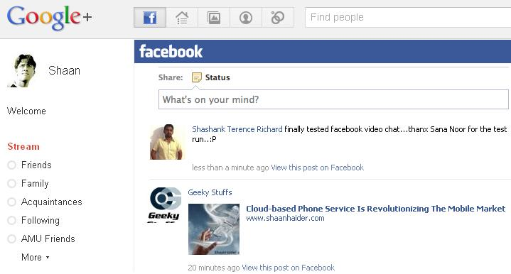 HOW TO : Get Your Facebook Stream On Google+ Plus