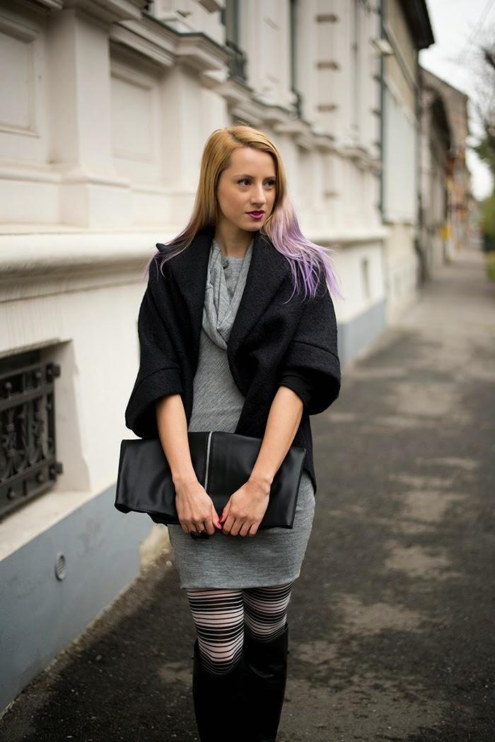 Skinny Buddha cocoon coat striped tights gray dress