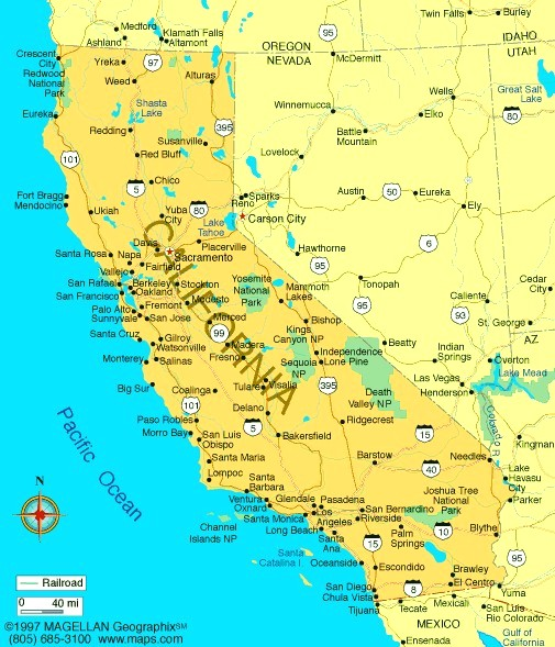 California Map Of Cities World Map - Map of califirnia