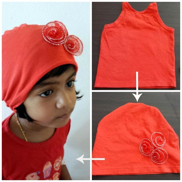 Make cute Baby Hats from Old Tank tops, T-shirts and Sweaters