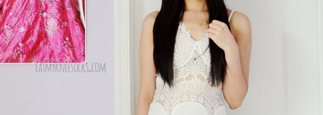 SheIn's white lace bustier-style slit-hem maxi dress is a gorgeous dress for the beach or for parties.