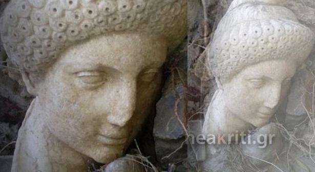 Η κακοκαιρία ξέθαψε αρχαιολογικό θησαυρό. Το μαρμάρινο γλυπτό απεικονίζει το κεφάλι νεαρής γυναίκας με εντυπωσιακό χτένισμα