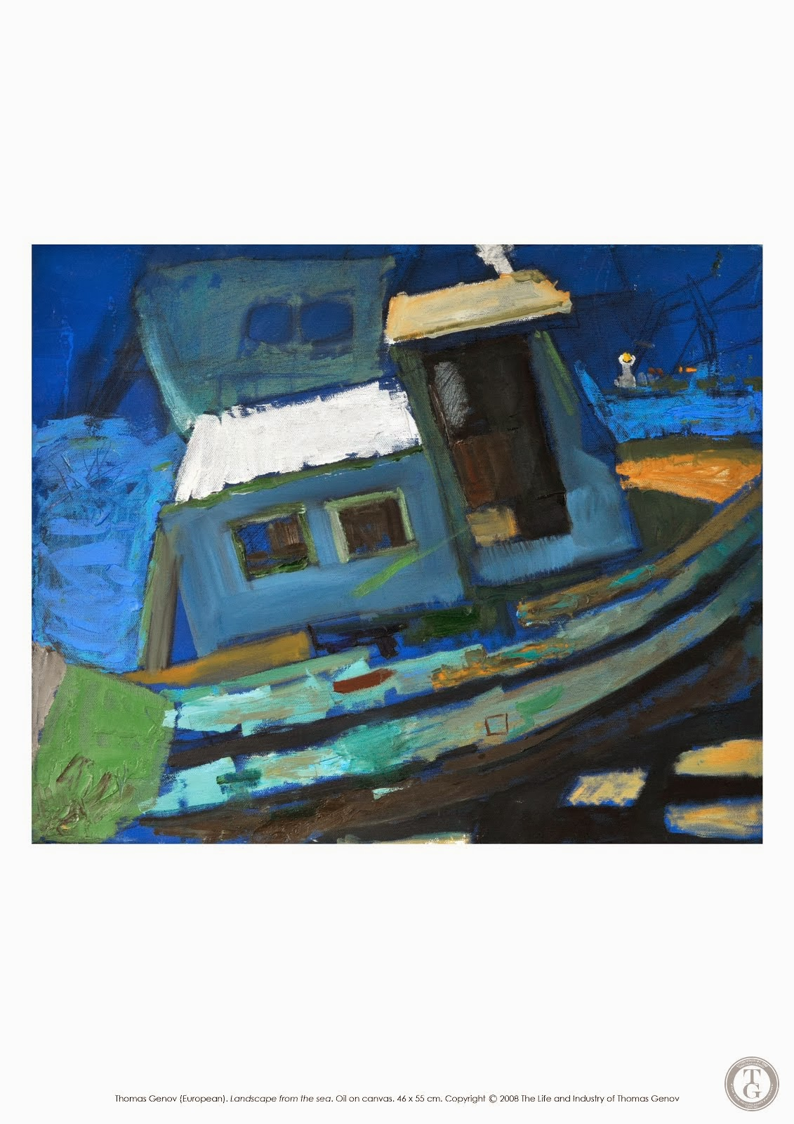 La Mer IV,Oil on canvas, 46X55 cm, Planner in Nesebar, 2003