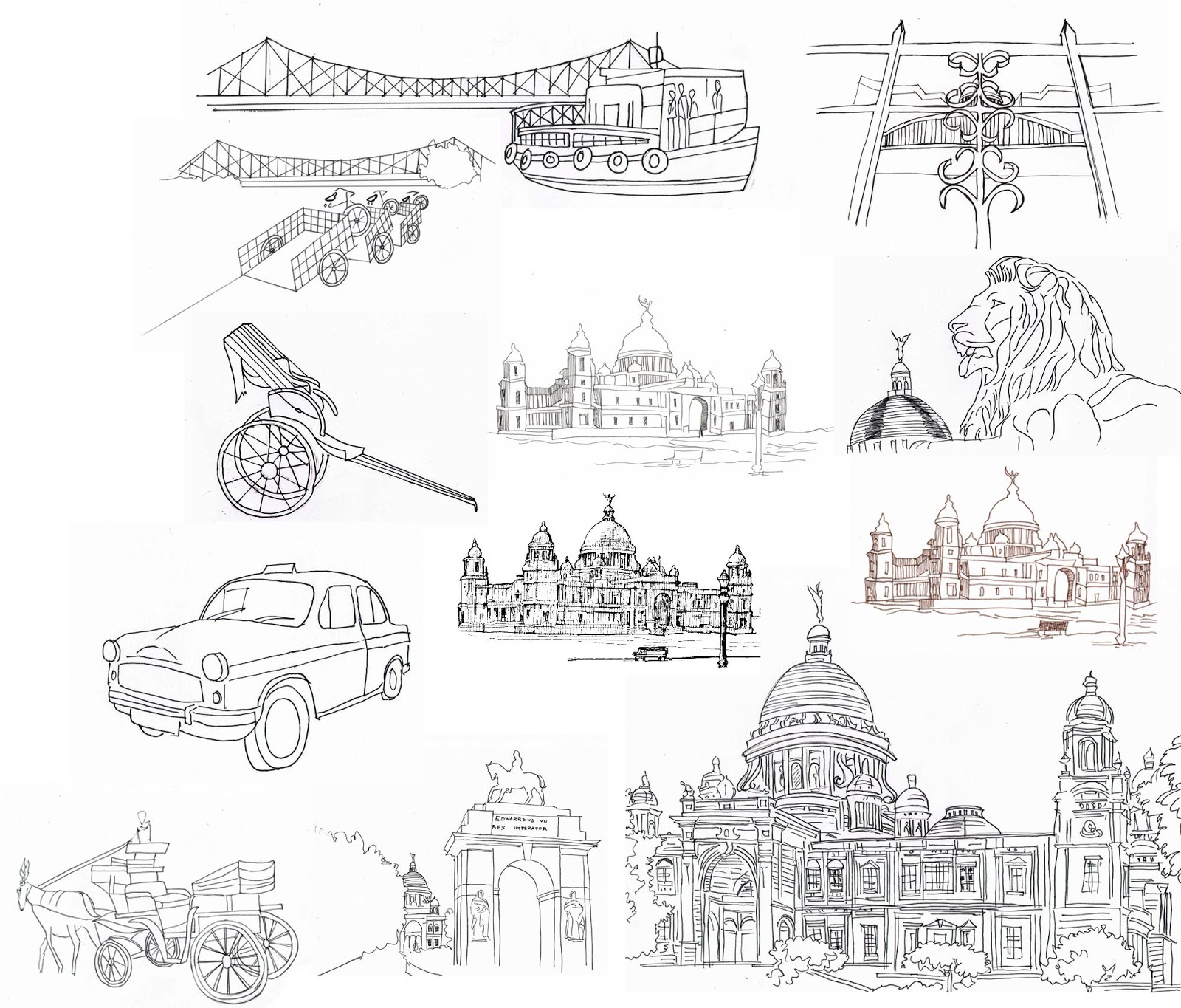 Above The Inspirations Eg Howrah Bridge Victoria Memorial Hall Yellow Taxi Hand Drawn Rickshaw Horse Carriage Etc Architecture