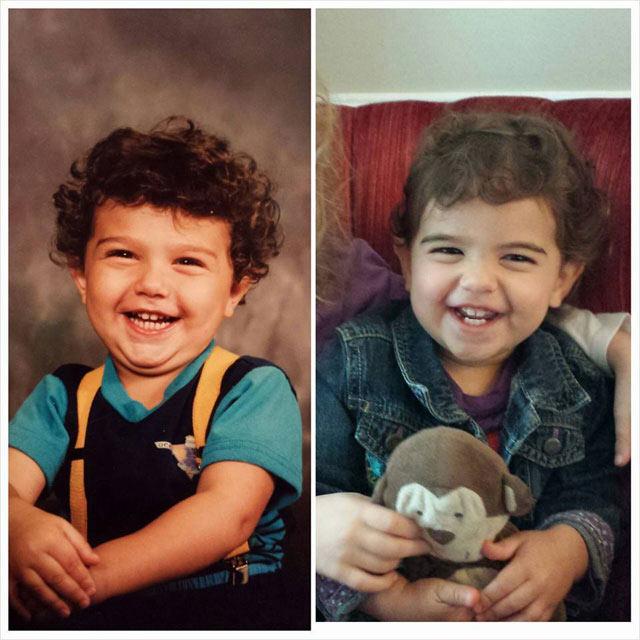 Fotos lado a lado de padres y sus niños en la misma edad