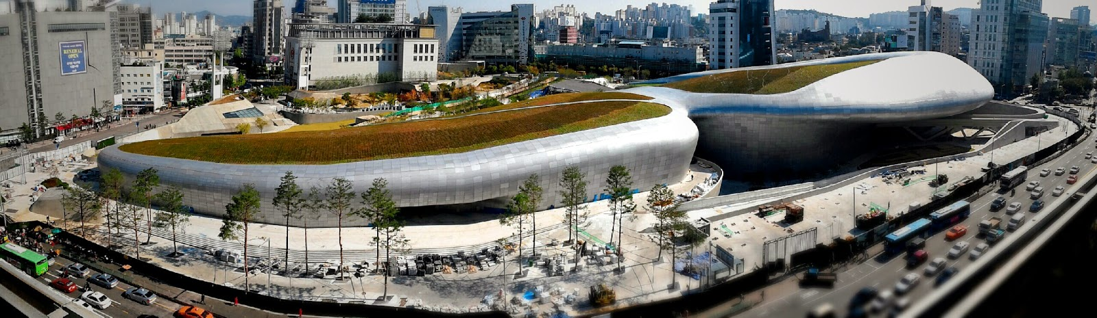 Bird's eye view of the  Dongdaemun Design plaza