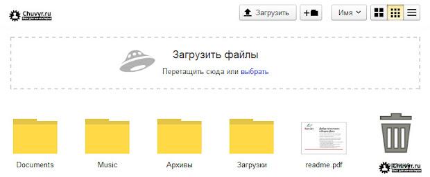 перетаскивание файла, выбор файла с компьютера, загрузка файла на яндекс диск