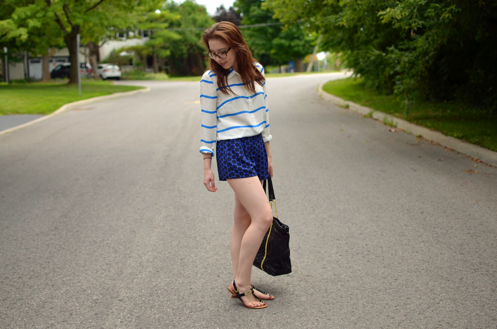 OOTD ft. a J. Crew blouse, Aritzia silk crepe shorts, a Zara tote, and Target sandals