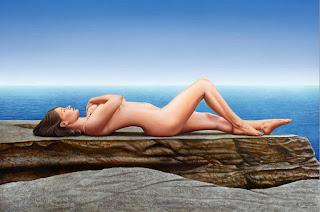 Desnudo de Mujer con Paisaje de Fondo