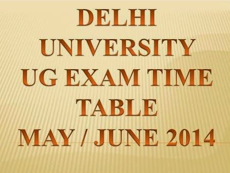 Delhi University (DU) UG Exam Data Sheet May /  June 2014 @ www.du.ac.in