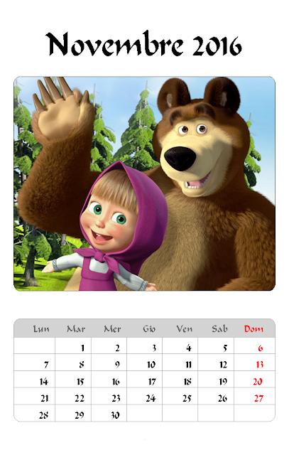 Calendario 2016 - Masha e Orso - Novembre