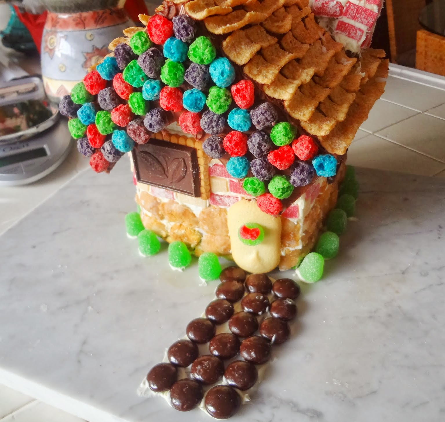 Christmas candy cereal cookie house