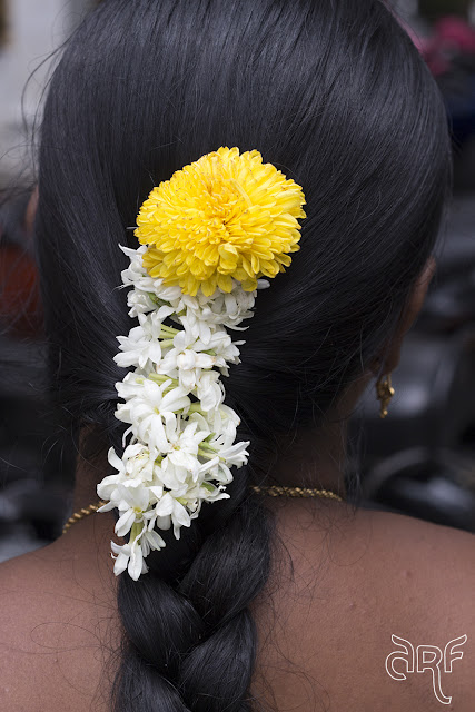 Indian lady with flowers in her hair