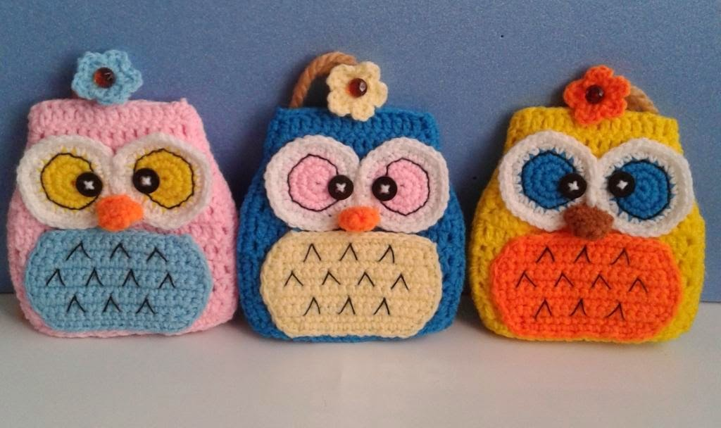 crochet owl key holders craft amigurumi lovely cute colorful pattern hoot
