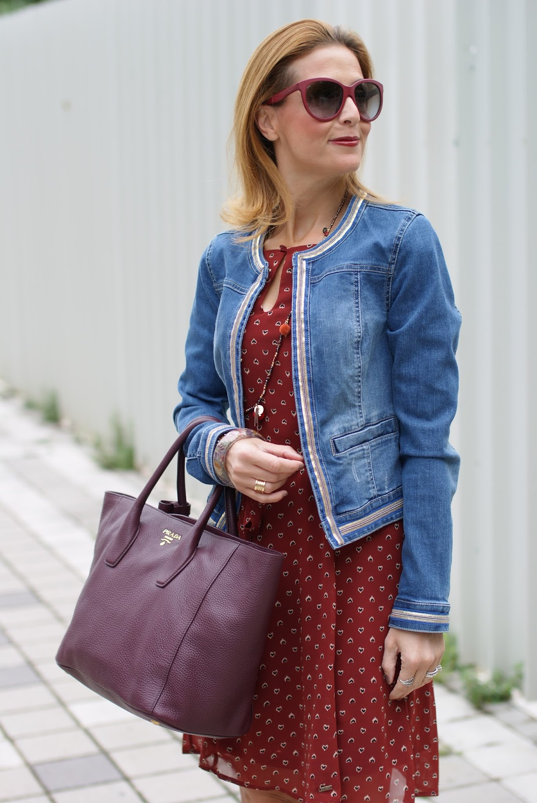 Mismash dress, Prada tote with Fall colors and Pimkie jacket on Fashion and Cookies fashion blog, fashion blogger style