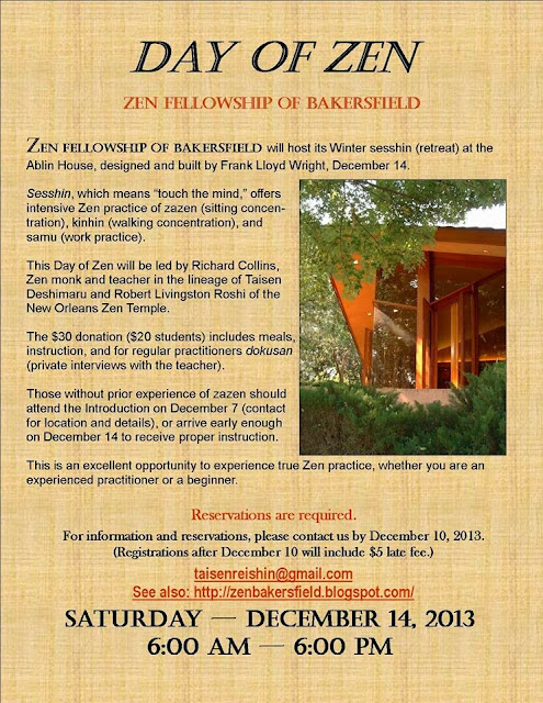Flier for Day of Zen: A One-Day Sesshin - 14 December 2013