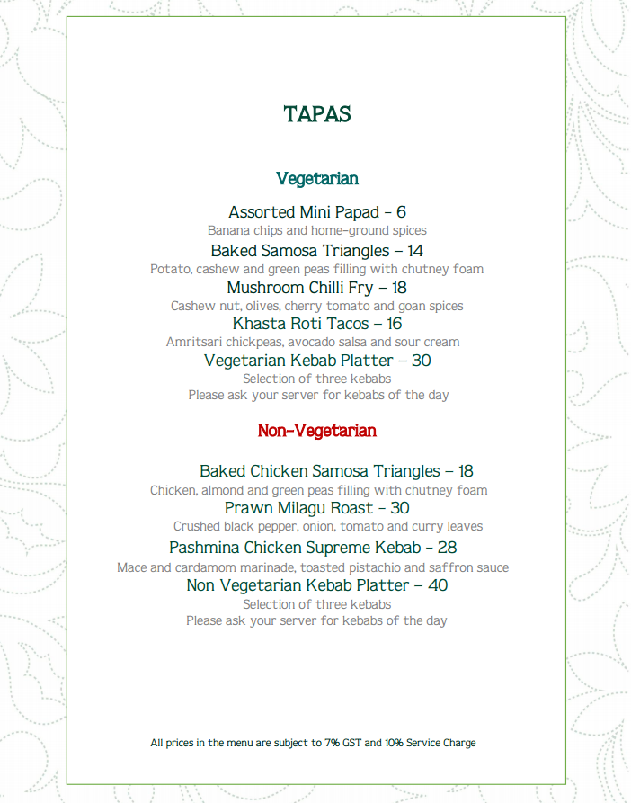 SAHA Signature Indian Restaurant & Terrace Bar Tapas Menu