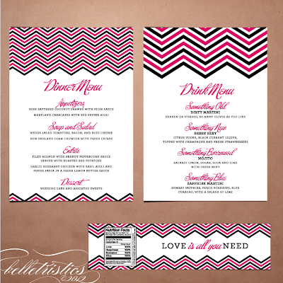 modern pink black chevron printable diy wedding envelope liner address label design