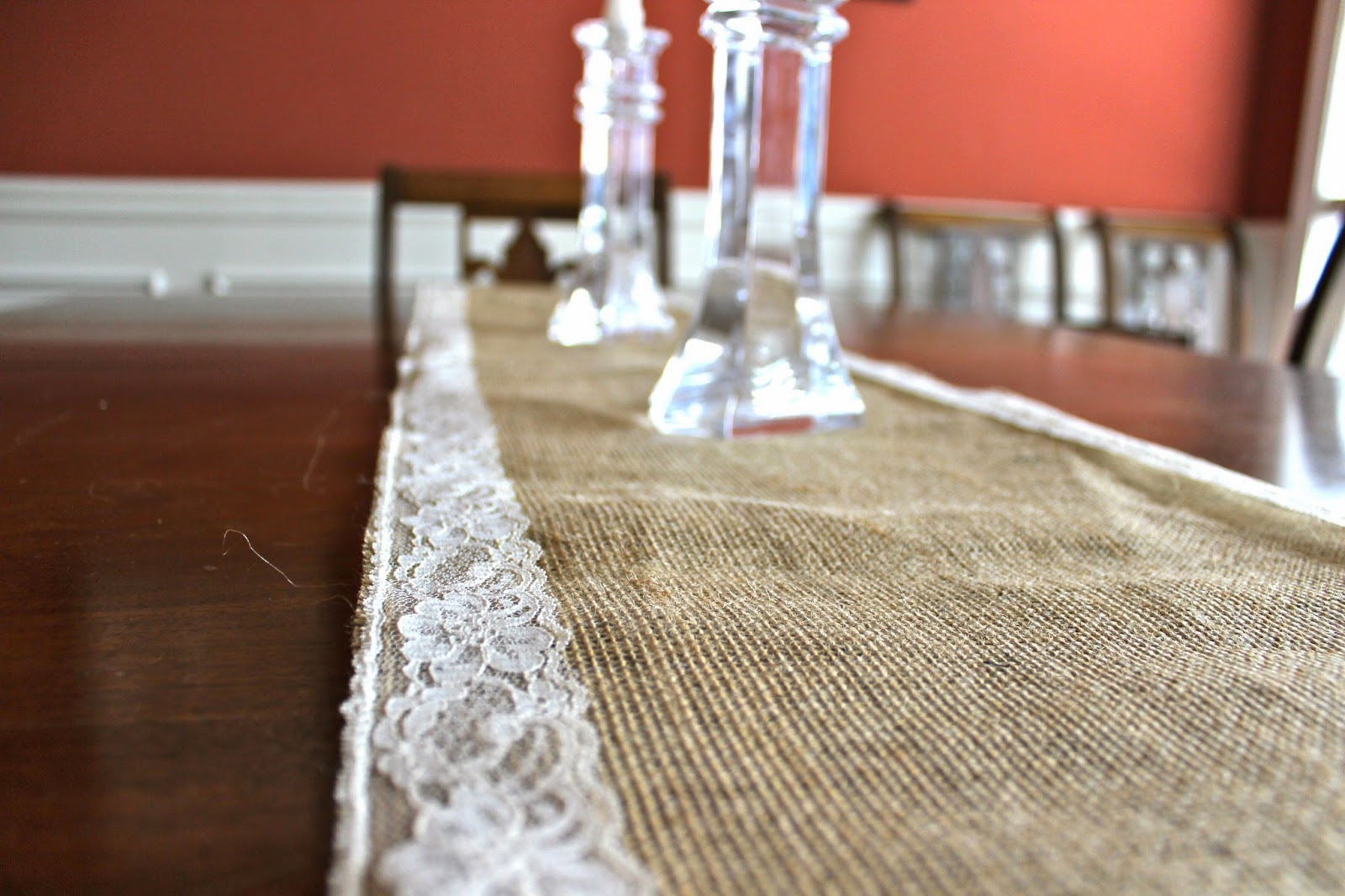 Burlap and Lace Table Runner by Redhead Baby Mama