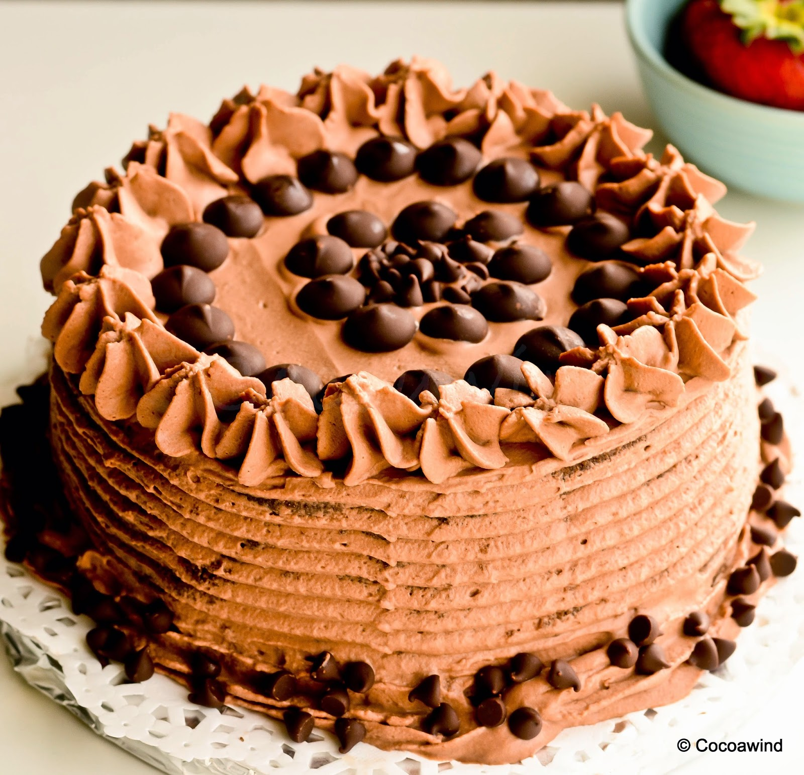 Chocolate Cake with Mocha Whipped Cream Frosting