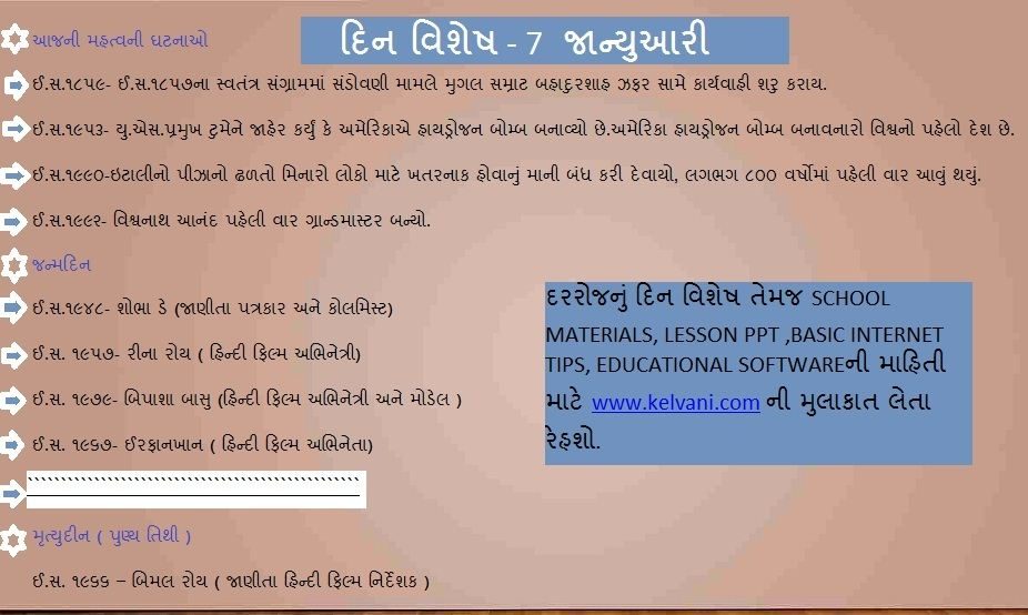 DIN VISHESH TODAYS HISTORY IN GUJARATI 7 JANUARY