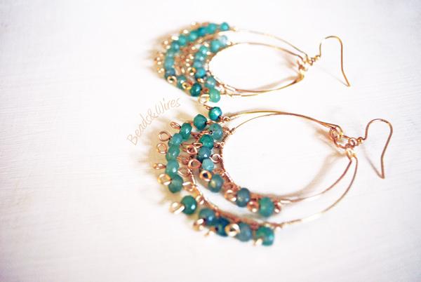 Beads orecchini cerchio verde