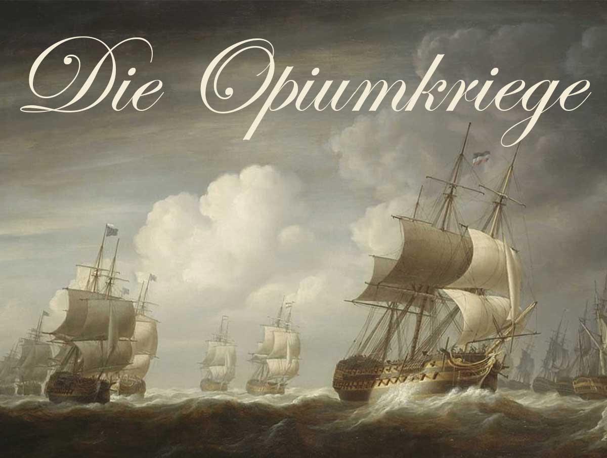 Ölgemälde von 1803 mit Schiffen der britischen Ostindienkompanie.