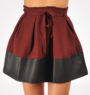 Leather Accent Tie Front Skirt Burgundy