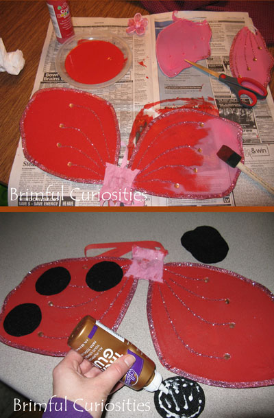 Brimful curiosities how to make a ladybug girl costume how to make ladybug wings i experimented with a few different wing making techniques including wrestling a pair of panty hose onto a wire coat hanger solutioingenieria Images