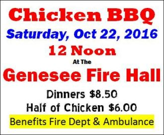 10-22 Chicken BBQ, Genesee VFD