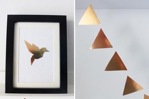 DIY Upcycling Dekoration Kupfer Origami Vogel Wimpelkette