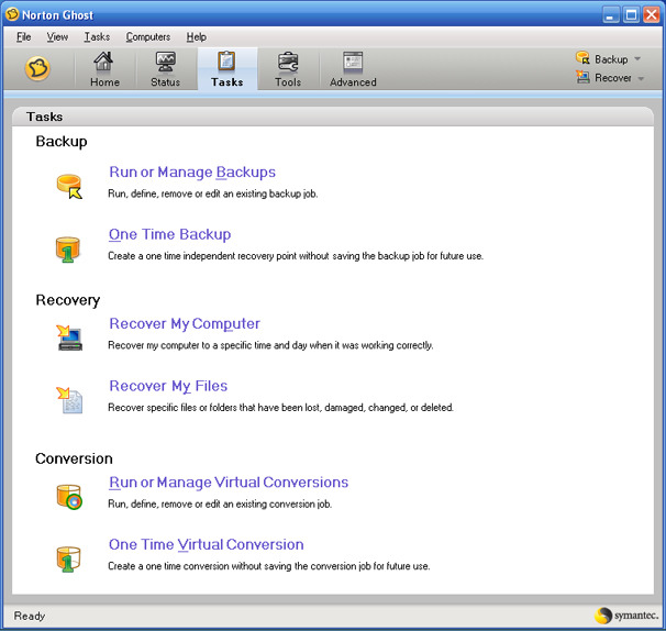 norton ghost 15.0 recovery disk