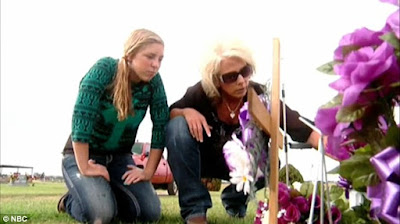 Sandy with her daughter Saige at her husbands grave