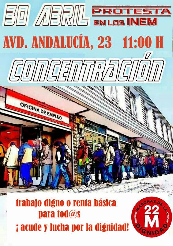 M laga marcha por la dignidad 22m protesta en oficina del inem de la avenida de andaluc a el 30 - Oficina de empleo andalucia ...